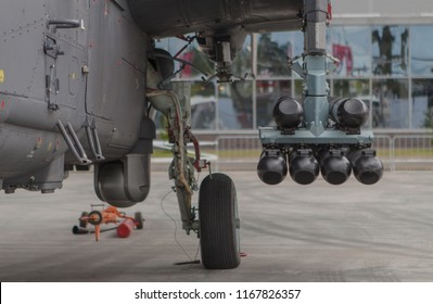 helicopter landing gearhead and view of laser guided anti-tank missiles on  russian navy attack helicopter