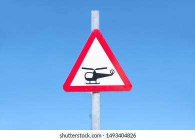Helicopter low flying or sudden noise from helicopters beware sign