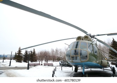 Helicopter Mi-8 in Victory Park in Kazan, Russia, 09.03.2017