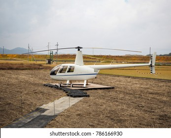 Helicopter on autumn field
