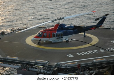 Helicopter on Offshore Heli-Deck