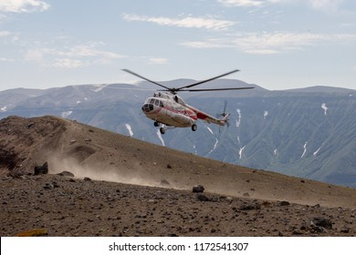 helicopter on the volcano ksudach peninsula Kamchatka
