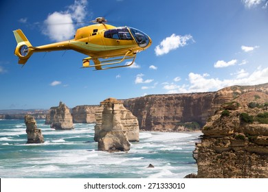 Helicopter over the 12 Apostles, Australia