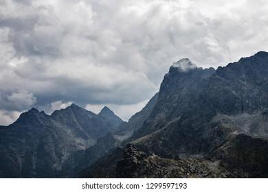 Helicopter over high Tatra mountains, Mieguszowiecki peak area