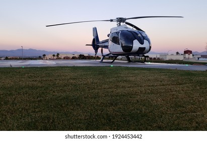 Helicopter ready for takeoff in the desert. Las Vegas, Nevada. November 22, 2021