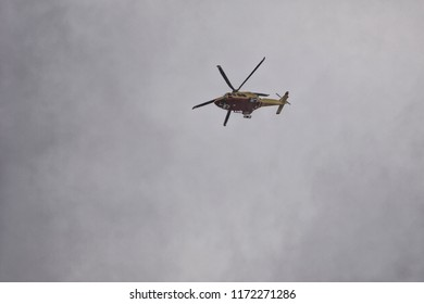 Helicopter Rescue Flight in the Bad Weather