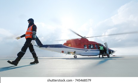 helicopter rescue with lifeguard in heliport