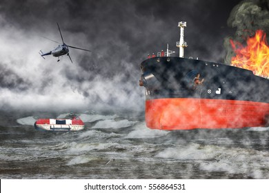 A helicopter rescue mission in difficult stormy weather - Burning ship at sea.