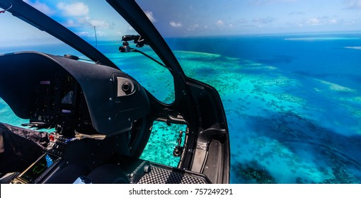 Helicopter ride over Moore Reef, part of the outer Great Barrier Reef in Australia