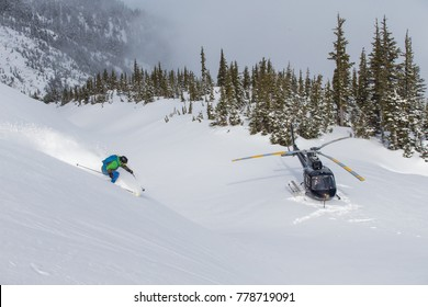 Helicopter skiing in the mountains near Terrace, British Columbia.
