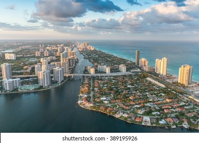 Helicopter sunset view of Miami Beach, Florida.