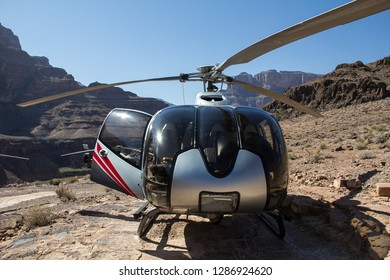 Helicopter for tourists waiting for lift-off in the Grand Canyon, Nevada