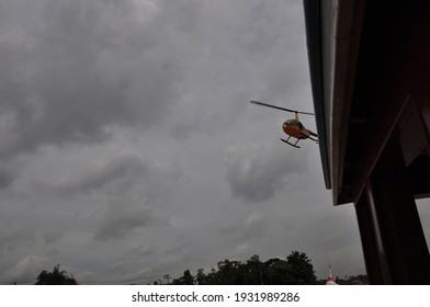 Helicopter travel in bangkok river
