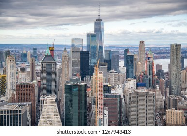 Helicopter view of Downtown Manhattan skyscrapers, New York City.