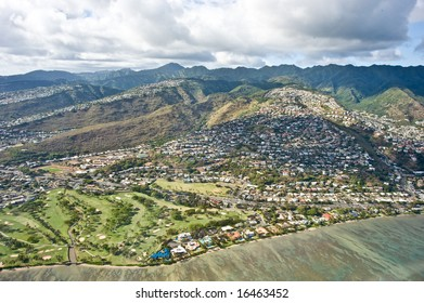 Helicopter view of the Honolulu, Hawaii on a clear day