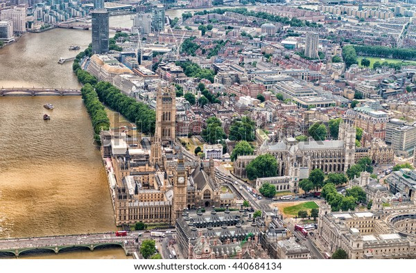 Helicopter view of London in June.