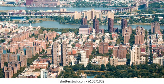 Helicopter view of New York. Central Park and Manhattan Buildings.