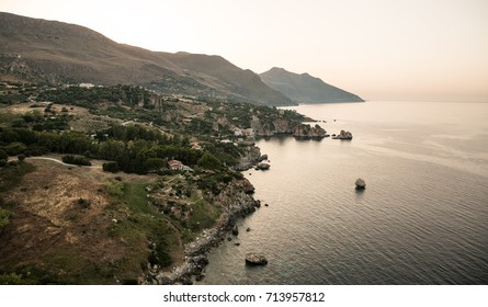 Helicopter view over the Sicily island
