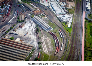 Helicopter view to railroad depot near Capetown, South Africa. September, 2015