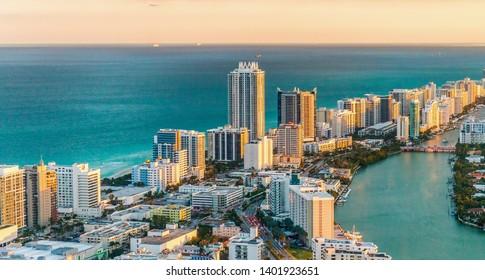 マイアミ、南海岸のヘリコプターの眺め。