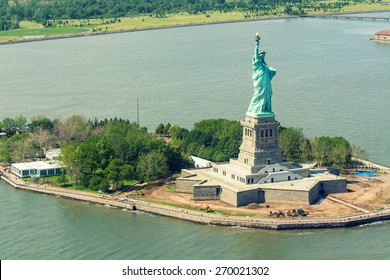Helicopter view of Statue of Liberty.