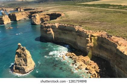 Helicopter view of Twelve Apostles in Great Ocean Road Australia