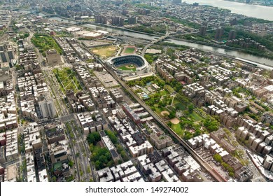 Helicopter view of Upper West side of Manhattan Yankees Stadium, New York, USA