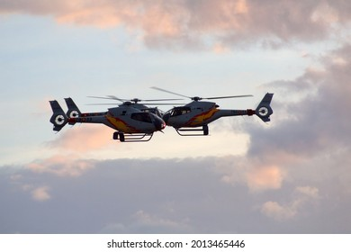 """Helicopters Eurocopter EC-120 'Colibrí from """"Patrulla Aspa"""" at the largest air festival in Lleida, Catalonia, Spain, September, 21, 2019"""