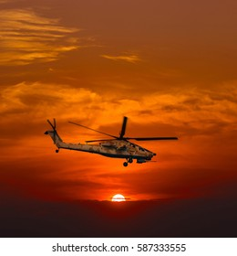 """Helicopters """"Mi-28 Havoc"""" at warm sunset"""