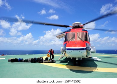 A helideck crew working on the offshore helipad