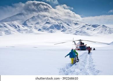 heli-skiing tour around the volcano