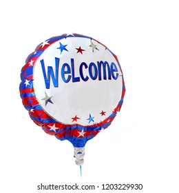 Helium balloon with Welcome text, isolated on white