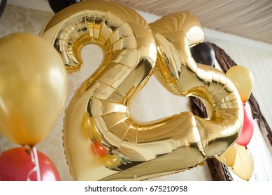 Helium balloons for the 25th anniversary