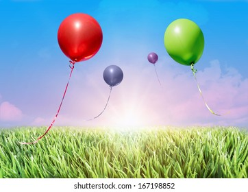 helium balloons floating in the air