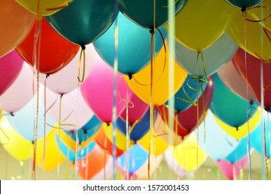 Helium balloons with ribbons in the office. Colorful festive background for birthday celebration, corporate party, anniversary, children's holiday