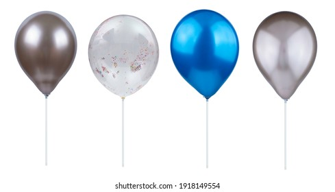 helium bubbles, colorful balloons on white background