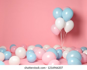 Helium inflatable latex panel color light blue pink white balloons background for decorations on birthday wedding corporative party
