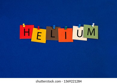 Helium – one of a complete periodic table series of element names - educational sign or design for teaching chemistry.