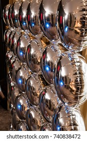 Helium silver balloons party background