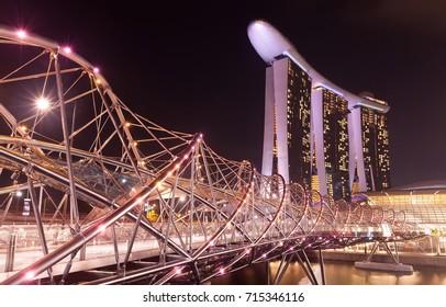 Helix bridge and Marina sands hotel at night, Singapore, 24.05.2011
