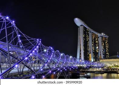 helix bridge,  is a pedestrian bridge linking Marina Center with Marina South in the Marina Bay area in Singapore.