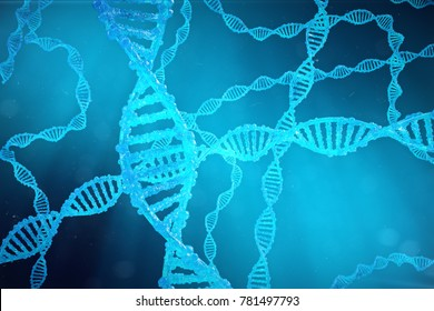 Helix DNA molecule with modified genes. Correcting mutation by genetic engineering. Concept Molecular genetics, 3d illustration