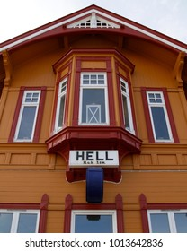 HELL, NORWAY - APRIL 28, 2011: Hell railway station building in Norway