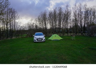 HELLA, ICELAND - MAY 18, 2018: Campsite in Hella, great option for parkinga and camping