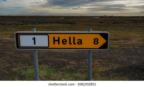 Hella Sign with Beautiful Clouds | Iceland Landscape