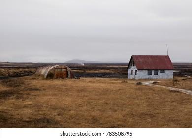 Hella, South Iceland / Iceland - 11.08.2017: A typical view of the rural place in Iceland.