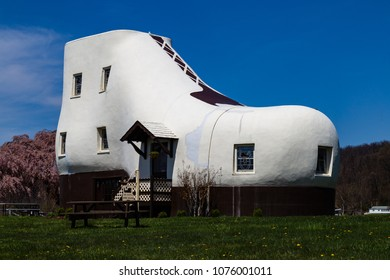 Hellam, PA, USA - April 23, 2018:  The Haines Shoe House is shoe-shaped home located near the Lincoln Highway in York County, Pennsylvania.