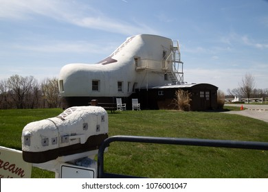 Hellam, PA, USA - April 23, 2018:  The Haines Shoe House is an unusual 25 feet tall, shoe-shaped building located in York County, Pennsylvania.