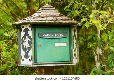 Hell-Bourg, Reunion - December 07, 2010: Post box of the oldest colonial estate Maison Folio in Hell-Bourg, Reunion island.