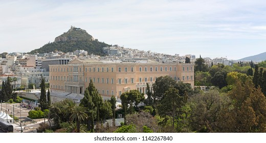 Hellenic Parliament Government Building in Athens Greece and Mount Lycabettus